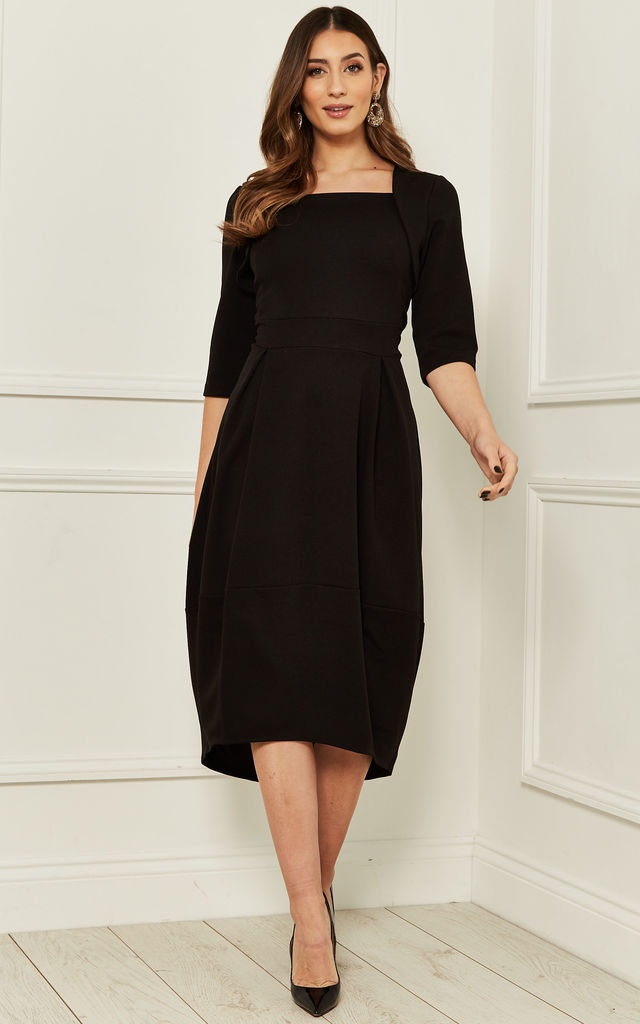 Square Neck Midi Dress with Pleats in Black by Bella and Blue