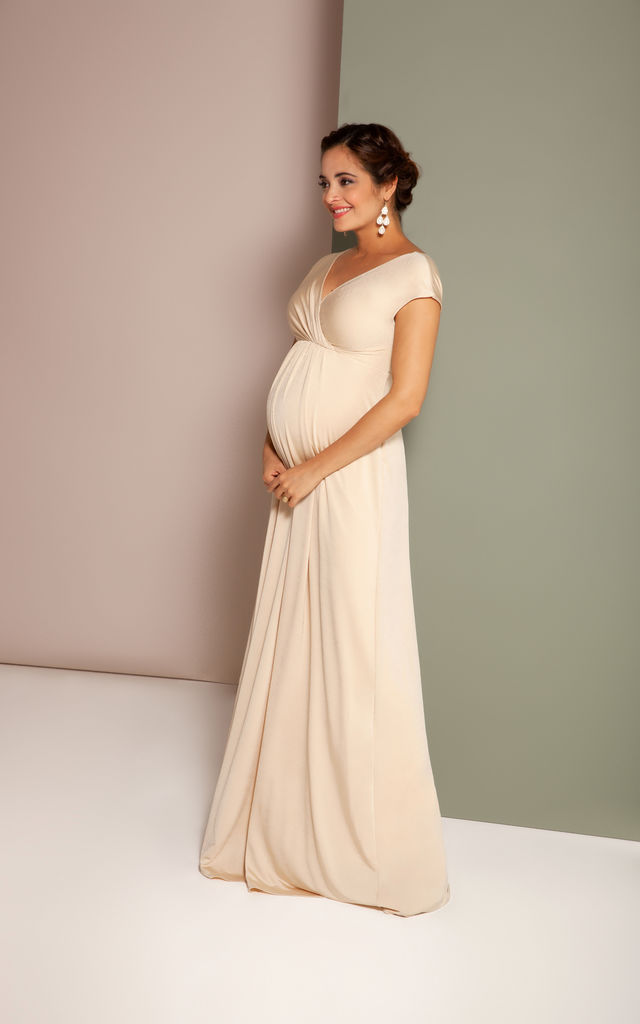 Francesca Maternity Photoshoot/Baby shower Maxi Dress in Champagne by Tiffany Rose Maternity