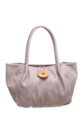 Bessie Button Faux Leather Bag in WHITE/PINK by BESSIE LONDON