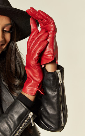 Red Real Leather Gloves | Touch Screen Friendly by BARNEYS ORIGINALS