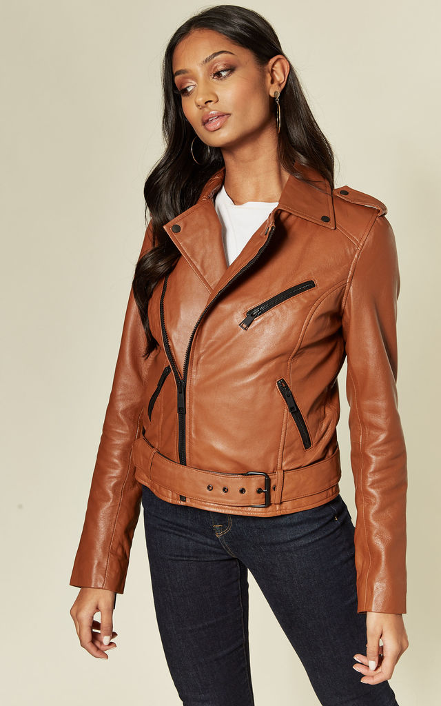 Real Leather Asymmetric Biker Jacket in Tan by BARNEYS ORIGINALS