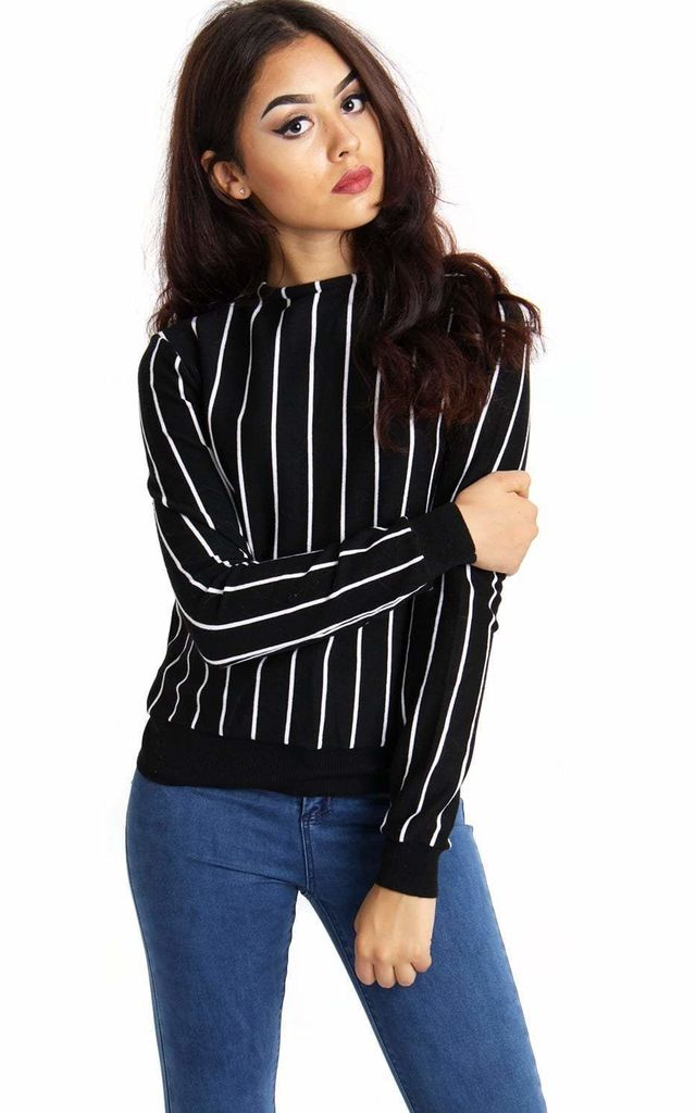 FITTED JUMPER in BLACK STRIPE by LOES House