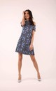 Flared Dress with Bare Shoulders in Blue Floral Print by By Ooh La La