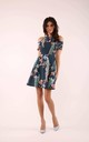 Flared Dress with Bare Shoulders in Navy Floral Print by By Ooh La La