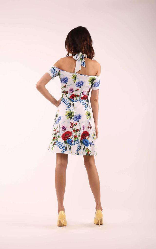 Flared Dress with Bare Shoulders in White Floral Print by By Ooh La La