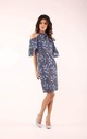 Wedding Guest Dress with Bare Shoulders in Blue Floral Print by By Ooh La La