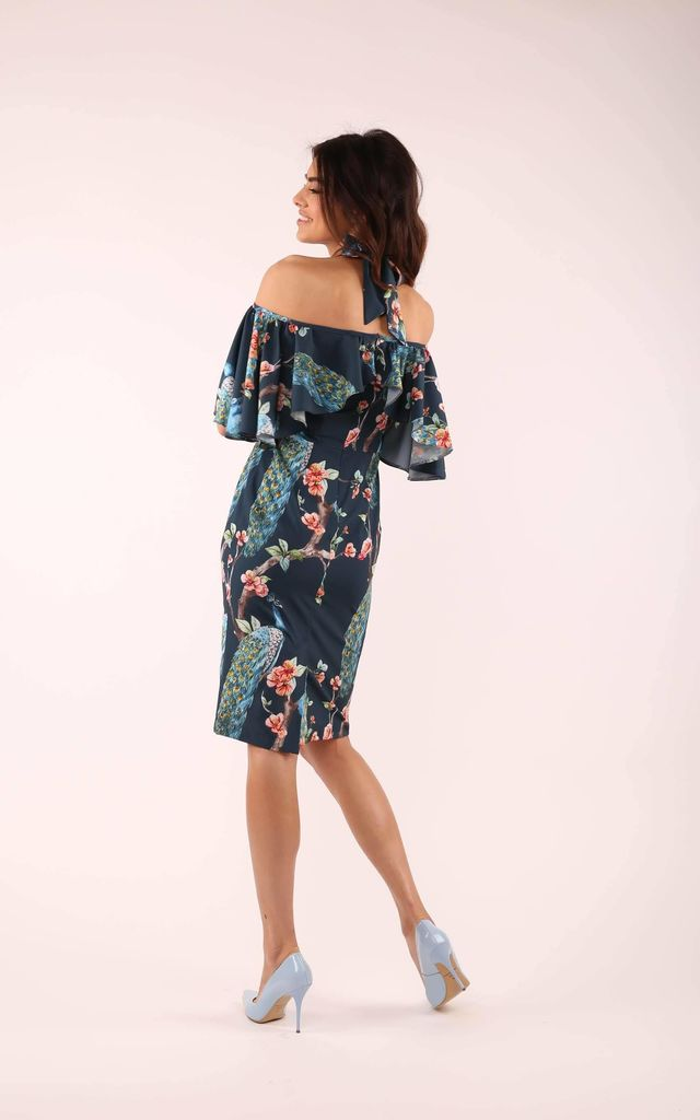 Wedding Guest Dress with Bare Shoulders in Navy Blue Floral Print by By Ooh La La