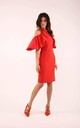 Wedding Guest Dress with Bare Shoulders in Red by By Ooh La La