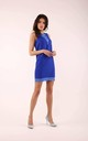 Blue Sleeveless Mini Dress with Lace at Neckline by By Ooh La La