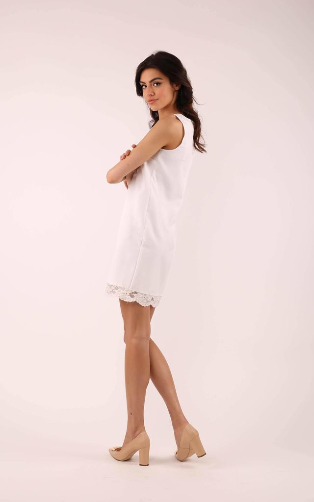 Ecru Sleeveless Mini Dress with Lace at Neckline by By Ooh La La