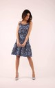 Flared Dress with Frill in Blue Floral Print by By Ooh La La