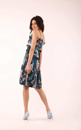 Flared Dress with Frill in Navy Blue Floral Print by By Ooh La La