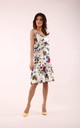 Flared Dress with Frill in White Floral Print by By Ooh La La