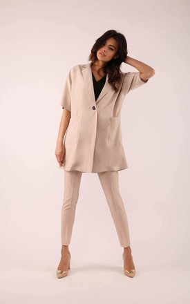 Loose Coat with Short Sleeve in Beige by By Ooh La La