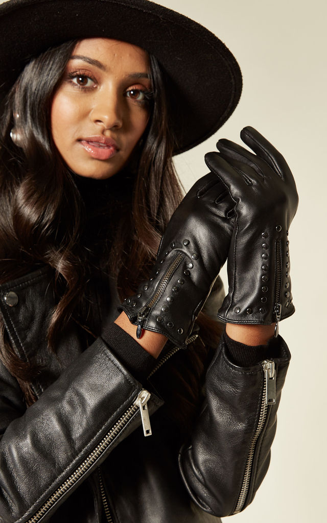 Studded Black Real Leather Gloves with Zipped Cuffs by BARNEYS ORIGINALS