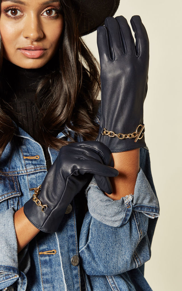 Dark Navy Real Leather Gloves with Chain Detailing by BARNEYS ORIGINALS