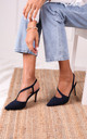 Berkeley Navy Suede Court Heels with Wrap Around Sling Back by Linzi