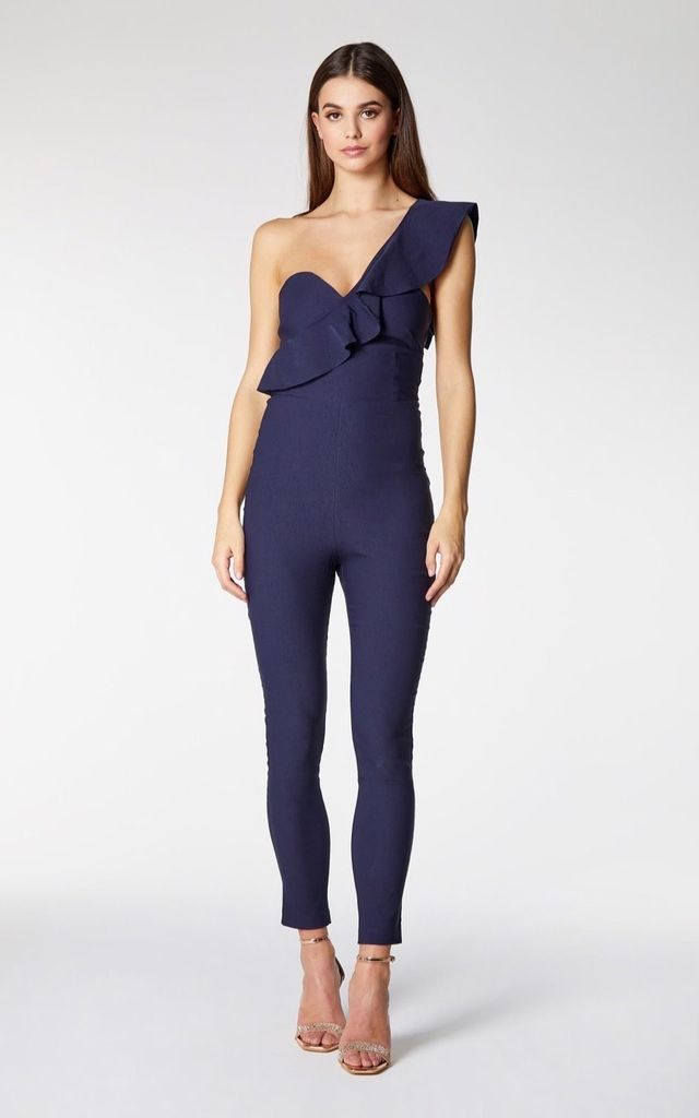 Christall One Shoulder Frill Jumpsuit in Navy by Vesper247