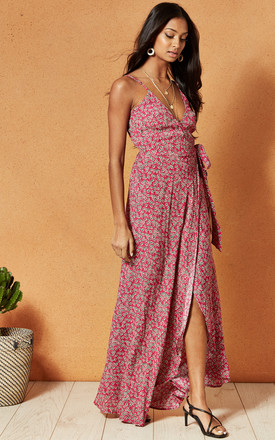 Mallorca Maxi Wrap Dress In Red Ditsy Print by Band Of Gypsies Product photo