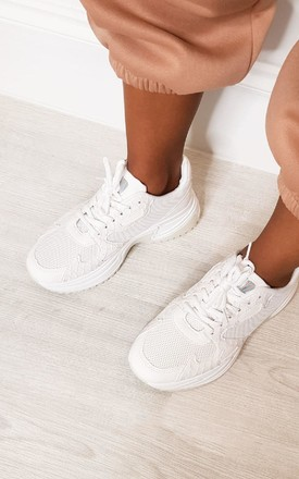 Leyah Chunky Croc Print Mesh Trainers in White by IKRUSH