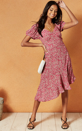 Lake Como Midi Dress In Red Ditsy Print by Band Of Gypsies Product photo