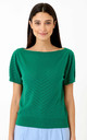 Boatneck Short Sleeve Knitted Top in Green by Pretty Vacant