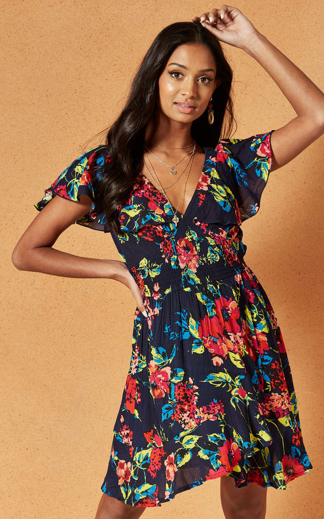ROSE ISLAND MINI DRESS in Navy Floral by Band Of Gypsies