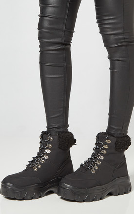 Black Chunky Lace Up Boots With Teddy Lining by Truffle Collection Product photo