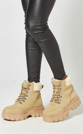 Sand Chunky Lace Up Boots With Teddy Lining by Truffle Collection Product photo