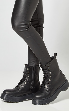 Black Platform Lace Up Boots by Truffle Collection Product photo