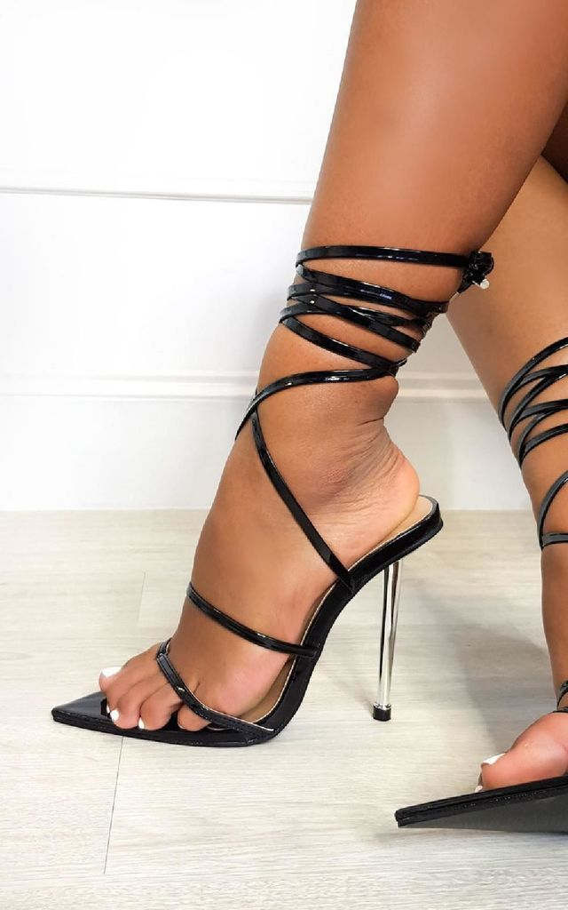 Leti Lace Up Pointed High Heels in Black by IKRUSH
