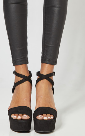 Black Platform Heels With Cross Ankle Strap by Truffle Collection