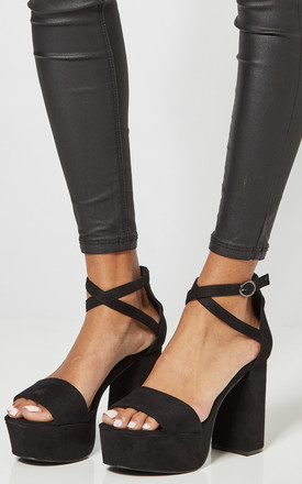 Black Platform Heels With Cross Ankle Strap by Truffle Collection Product photo