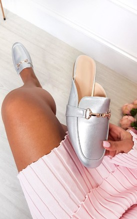 Gigi Faux Leather Mule Sandal in Silver by IKRUSH