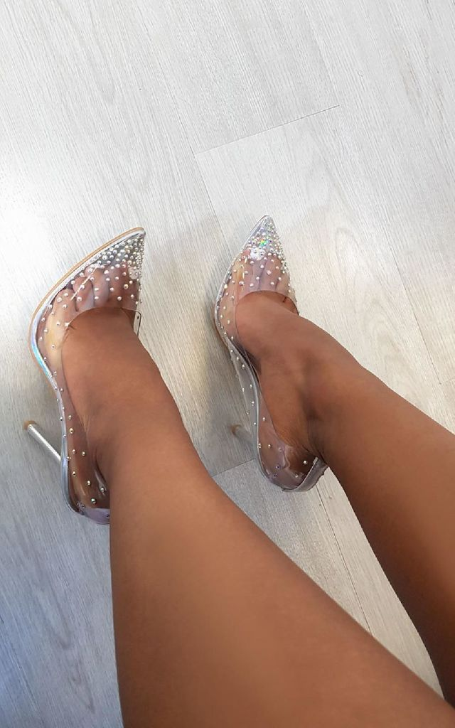 Cindy Silver Perspex Pointed Court Heels with Embellishments by IKRUSH