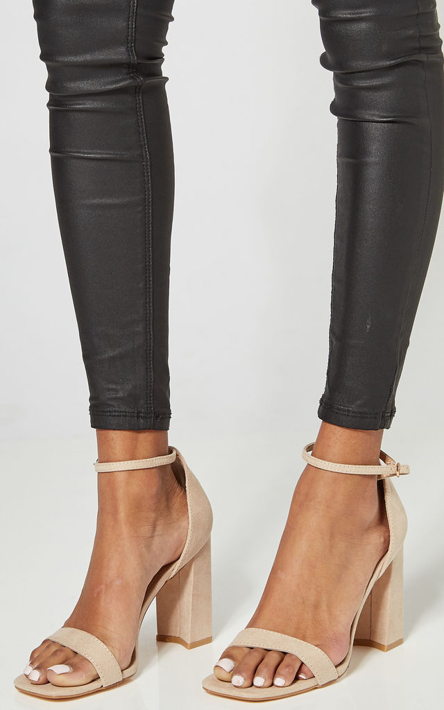 Nude Block Heeled Shoes With Ankle Strap by Truffle Collection
