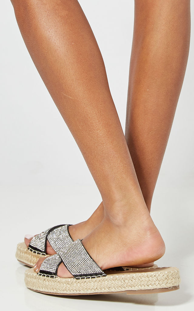 Black Flatform Slip On Sandals With Diamante Straps by Truffle Collection