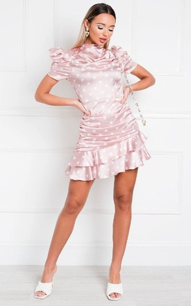 Billie Frill Mini Dress in Rose Pink Polka Dot by IKRUSH