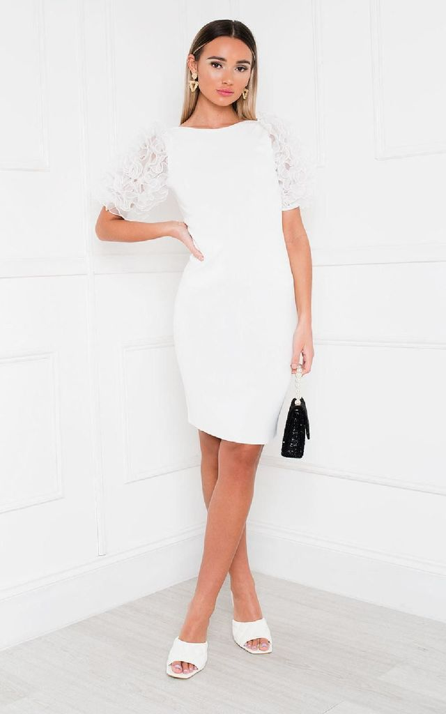 Willa Ruffle Sleeve Jumper Dress in White by IKRUSH