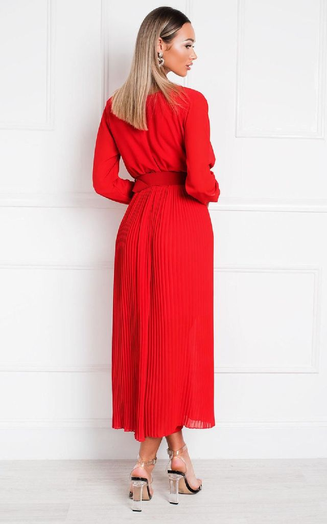Sara Belted & Pleated Jumpsuit in Red by IKRUSH