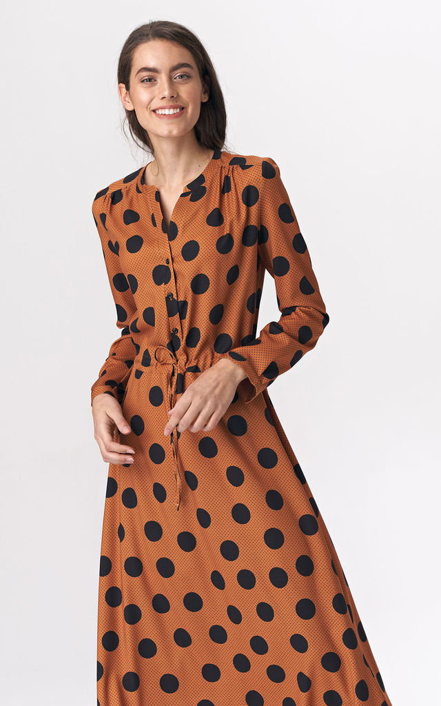 Long Sleeve Maxi Dress in Brown Polka Dot by so.Nife