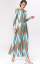 Long Sleeve Maxi Dress in Turquoise Geometric Print by so.Nife
