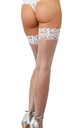 Fishnet White Hold Up Stockings with Back Seam by DREAMGIRL
