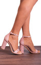 Dusky Rose Pink High Heel Strappy Sandals with Ankle Straps by Shoe Closet