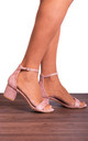 Dusky Rose Pink Low Heeled Sandals with Ankle Straps by Shoe Closet