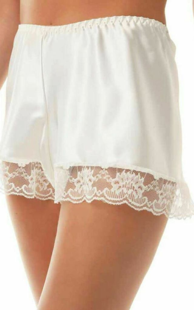 White Satin French Knickers by BB Lingerie