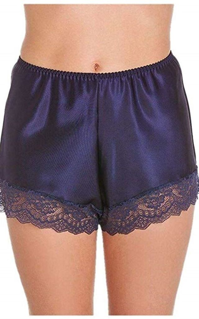 Navy Blue Satin French Knickers by BB Lingerie