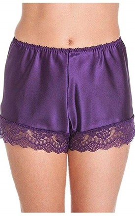 Purple Satin French Knickers by BB Lingerie