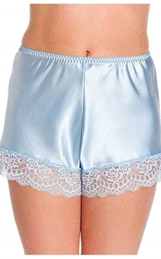 Pale Blue Satin French Knickers by BB Lingerie