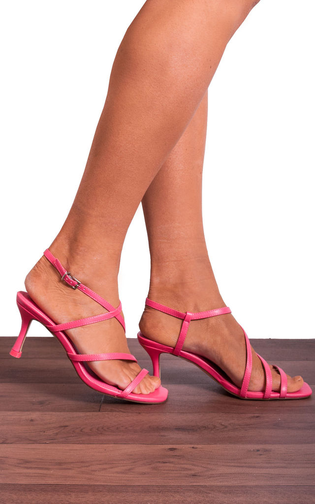 Coral Pink Kitten Heels Strappy Sandals with Straps by Shoe Closet